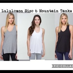 "3 Lululemon ""Mountain Tanks"" Size 6"
